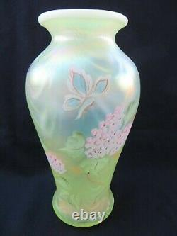 Fenton Yellow Topaz Vaseline Opalescent Drapery Vase HP Hydrangeas Butterfly 9.5