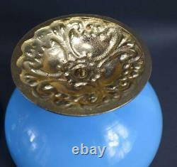 French Antique Blue Opaline Lidded Opaline Candy Box Gilded Brass Stand