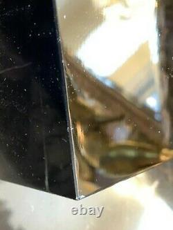 French Art Deco Black Opaline Glass Gilt Ormolu Geometric Shape Casket Box