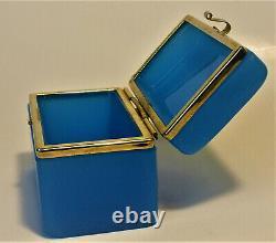 French Opaline Glass Casket Trinket Box Ormolu Gilt Brass Mounts 1880s France