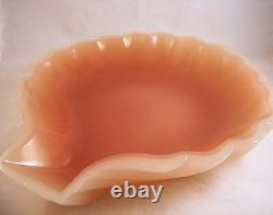French Opaline Opaque Glass Pink Mauve 10.5 Scallop Shell Center Bowl STUNNING
