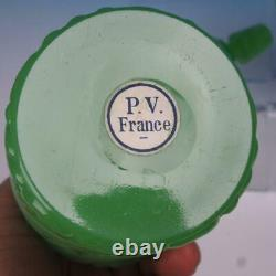 French PV Portieux Vallerysthal Green Opaline Glass Pair of Dresser Bottles