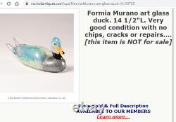 HUGE 38cm vintage Murano Formia Mian Giuliano silver foil glass duck sculpture