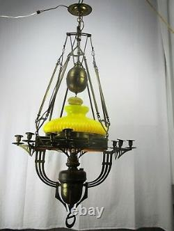 Impressive Chandelier Arts & Crafts Bauhaus Art Deco Brass Yellow Opaline Shade