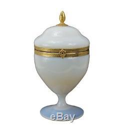 Italian Vintage White Opaline Hinged Trinket Jewelry Box Case Brass