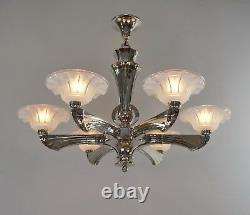 J. Gauthier Ezan Ejg Large 1930 1935 French Opalescent Art Deco Chandelier