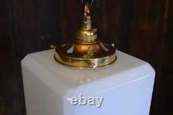 Kenny Medium Sized Opaline Art Deco Cube Pendant Light Rewired & PAT Tested