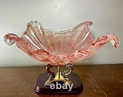 LARGE 1950s MCM Murano Italy Sommerso Pink Opalescent Art Glass Centerpiece Bowl