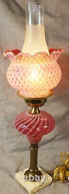 LG Wright / Fenton Glass OPALESCENT CRANBERRY COIN DOT & SWIRL Lamp 19 Tall