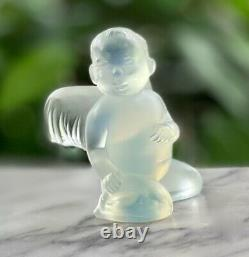 Lalique French Crystal Opalescent Cherub Angel Mint Signed Rare Authentic
