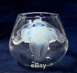 Lalique Orchidee Clear Vase with Opalescent Orchids