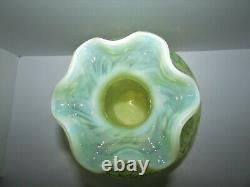 Large 11.5 Fenton Topaz Opalescent Daisy and Fern Art Glass Vase 903