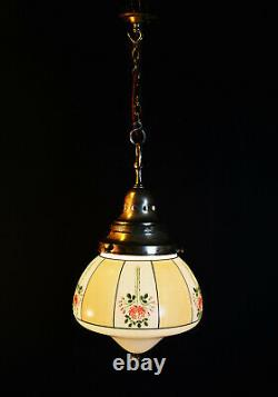 Large Architectural Art Deco school house hand painted opaline glass lantern