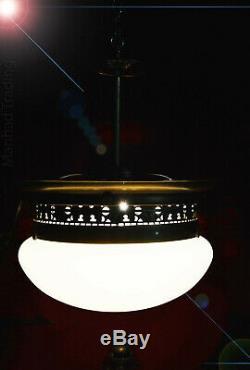 Large French Opaline milk glass Art Deco pendant industrial vintage Vienne Light