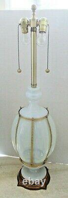 Large Murano Blue Opalescent Glass and Brass Table Lamp by Marbro circa 1960s