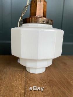 Large Pair Original Art Deco Opaline Milk Glass & Copper Pendant Lights 1920s