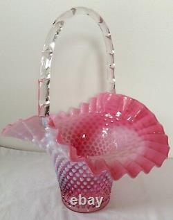Large Rare Vintage Fenton Art Glass Cranberry Opalescent Hobnail Flip Basket