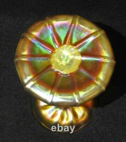 Louis Comfort Tiffany LCT Favrile Opalescent Gold Swirl 5 Candlestick Holder