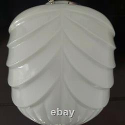 Lovely Rare Vintage Art Deco Opaline White Glass Ceiling Pendant Light Shade