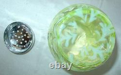 MINTVINTAGE60sFENTON GLASSSCARCEVASELINE OPALESCENTDAISY&FERNSUGAR SHAKER