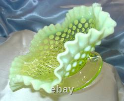 MINT+PERFVINTAGE50'sFENTON GLASSVASELINEOPALESCENTHOBNAIL8FTD FRUIT BOWL