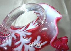 MINT+PERFVINTAGE60sFENTON GLASSCRANBERRY OPALESCENTDAISY&FERNPITCHER/JUG
