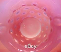 MINT+PRF40sFENTON GLASSVRARECRANBERRYOPALESCENTCOIN DOTHUGE 2 HNDL9VASE