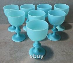NEWithOLD 1930's SET8 BLUE OPALINE PORTIEUX VALLERYSTHAL 4.5 WINE GLASSES NRMINT