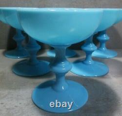 NEWithOLD 1930's SET 6 BLUE OPALINE PORTIEUX VALLERYSTHAL SHERBET GLASSES #1/2