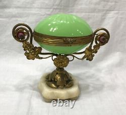 Napoleon III Era French URANIUM Opaline Glass Egg, Ormolu Trinket Box Casket