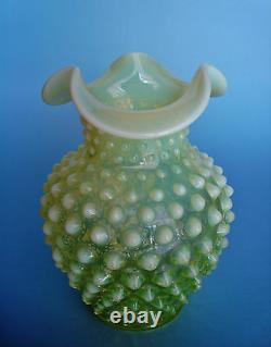 Old Vintage URANIUM Greenish-Yellow Vaseline Hobnail opalescent Ruffled Vase