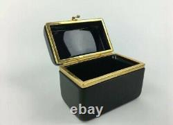 One Antique French Opaline Glass Box Casket Empire Era Brass Trim, Baccarat