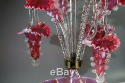 Opalescent Cranberry Vaseline Epergne