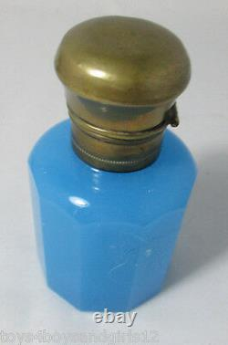 Opaline blue BOTTLE & STOPPER with BRASS LID Antique Original c1899, France
