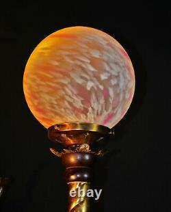 Original Edwardian Brass Mahogany Opaline glass floor standing art & crafts lamp