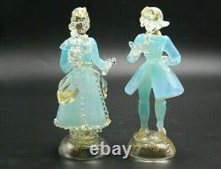 PAIR vintage Murano gold dust aqua opalescent glass dancer courtier figurines