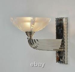 PETITOT & EZAN large pair of French 1930 opalescent Art Deco wall sconces France