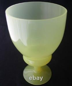 PORTIEUX VALLERYSTHAL Glass Yellow Opaline Footed Vase