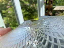 Pair 8 Antique Art Deco Rene Lalique Signed Opalescent Plates Coquille French