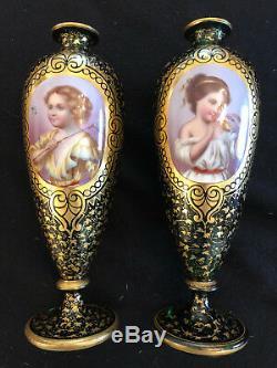 Pair Of Antique 19th C Bohemian Moser Enameled & Gilded Glass Portrait Vases