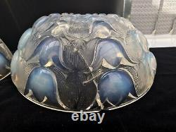 Pair Opalescent Vaseline Glass Art Deco Light Lampshades Sconces Lalique
