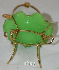 Palais Royal green opaline round dish and oval mirror in gilt metal frame
