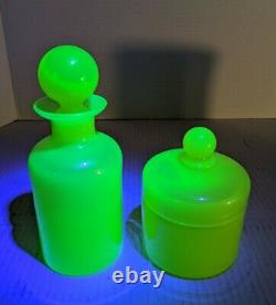 Portieux Vallerysthal Opaline Apothecary Jars Stoppered & Lidded Vaseline Glass
