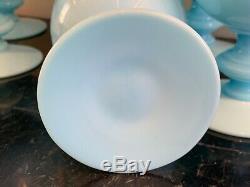 Portieux Vallerysthal Opaline Blue Milk Glass Stemmed Water Goblets Se of 7
