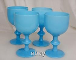 Portieux Vallerysthal PV French Blue Opaline 5.25 Glass Wine Goblet 83480