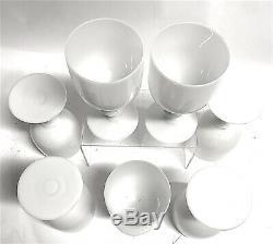 Portieux Vallerysthal Vintage White Opaline Goblets 6.5 Set of 7