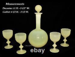 Portieux Vallerysthal Yellow Opaline Decanter and 4 Goblets