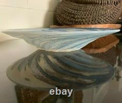 Pre 1945 R. Lalique Poissons 11 3/4 Opalescent Console Bowl Spiral Fish France
