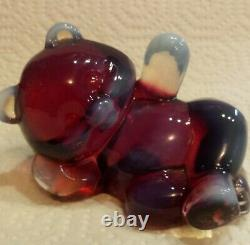 RARE Marked Fenton Plum Opalescent Reclining Laying Bear in Excellent Condition