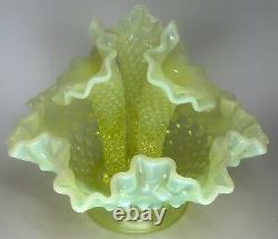 RARE Vintage Fenton Art Glass Vaseline Opalescent Hobnail Apartment Epergne